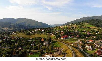 planète, vol, drone., concept, europe, voler, été, village, montagnes, vue, nature, beauté, notre, stupéfiant, carpathians.