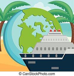 planète, voyage mondial, croisière bateau