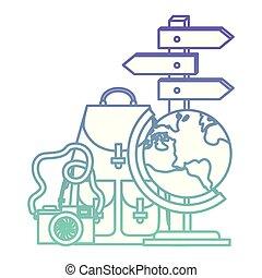 planète, voyage mondial, ensemble, icônes
