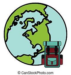 planète, voyage mondial, valise