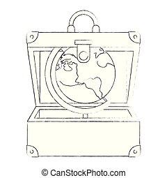 planète, voyage mondial, valise ouverte