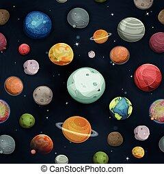 planètes, astéroïde, seamless, fond