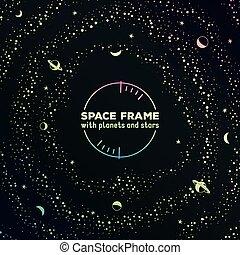 planètes, cadre, espace, retro, étoiles, futuriste