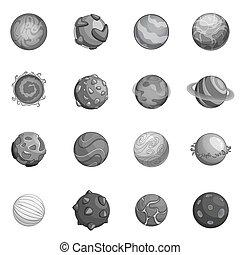 planètes, ensemble, monochrome, fantastique, icônes