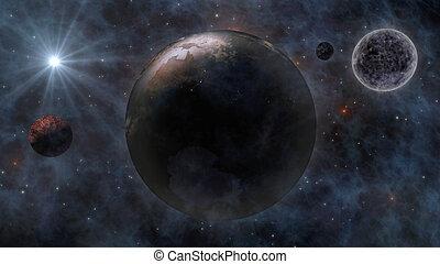 planètes, espace, lune, planète, rendre, soleil, la terre, 3d