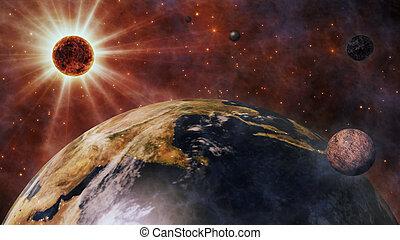 planètes, espace, lune, planète, soleil, la terre