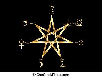 planétaire, sorcières, ou, étoile or, isolé, symboles, sept, symbole, divination, arrière-plan., noir, mystique, signe., rituel, hepta-gram, heptagram, septa-gram, runes, vecteur, point, magique, doré, wicca