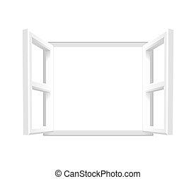 planície, branca, janela aberta