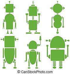 planície, vindima, retro, robôs, 2, ícones