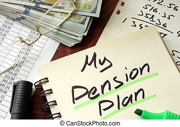 plan, écrit, pension, notepad.