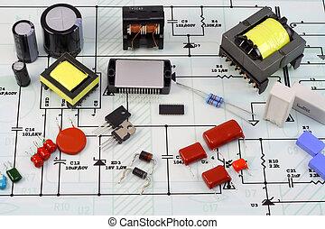 plan, électronique, électrique, composants