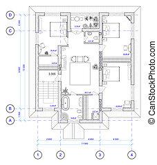 plan, 2, ho, arquitectónico, piso