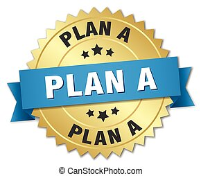 plan a 3d gold badge with blue ribbon