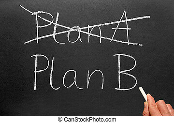 Plan A and Plan B. - Crossing out Plan A and writing Plan B...