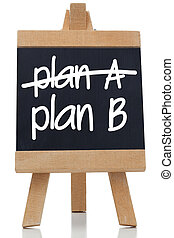 Plan A and Plan B written on chalkboard with a white chalk