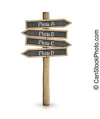 Plan A, B, C, D blackboard road sign