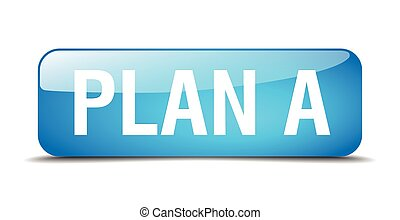 plan a blue square 3d realistic isolated web button