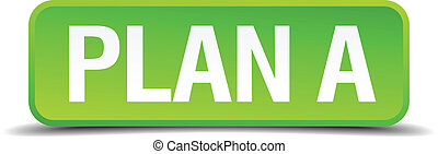 Plan A green 3d realistic square isolated button