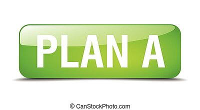 plan a green square 3d realistic isolated web button