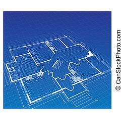 plan, a, landhaus