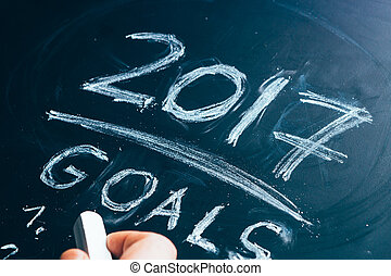 Plan a list of goals for 2017 hand written on blackboard
