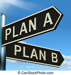 Plan A or B Choice Showing Strategy Change Or Dilema