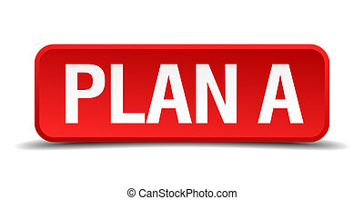 Plan a red 3d square button isolated on white