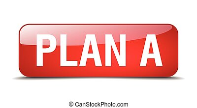 plan a red square 3d realistic isolated web button