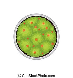 Plan a round flower bed. View from above. Vector illustration.