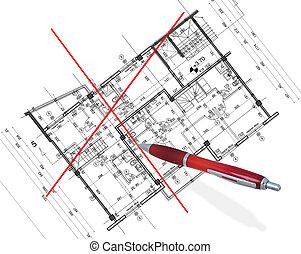 plan, abstrakcyjny, architektura