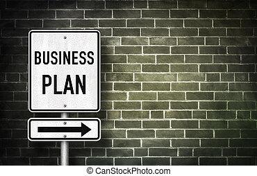 plan affaires, -, panneaux signalisations, illustration