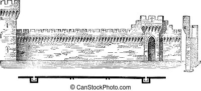 Plan and section of the ramparts of Avignon, vintage engraving.
