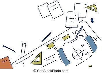 plan, angle, sommet, bureau, conception, lieu travail, mains, confection, vue