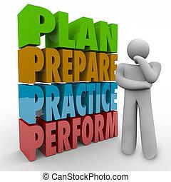 plan, aparejar, práctica, actuar, pensamiento, persona, estrategia, idea