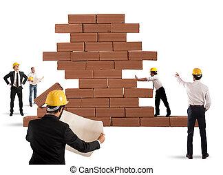 plan, architecten, werkende