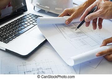 plan,  -, Architectes, projet,  closeup, mains, impression,  table, discuter, ingénieur