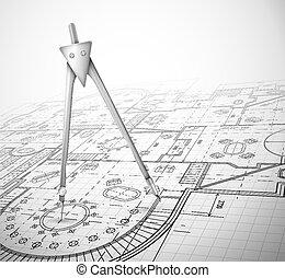 plan, architecturaal, kompas