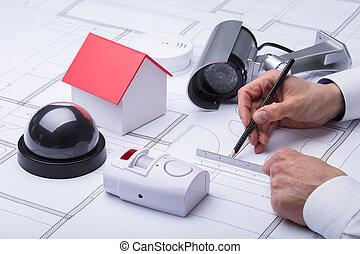 plan, architekt, szczelnie-do góry, rysunek, ręka