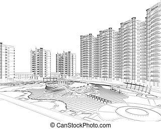 plan, arquitectónico, wireframe