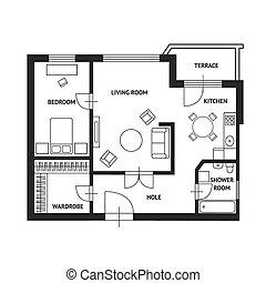 plan, arquitecto, muebles, vector, diseño, plano