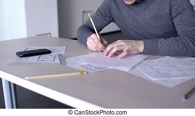 plan, bâtiment, sien, fonctionnement, haut., bureau, architecte, fin, mâle