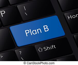 Plan B button on keyboard. Plan B concept . Plan B blue button