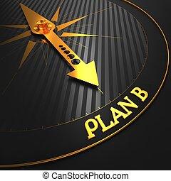 plan, b, op, zwarte en, gouden, compass.