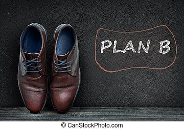 plan, b, text, på, svart, bord, och, affär, skor