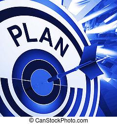 plan, blanco, medios, planificación, misiones, y, metas