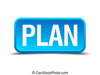 Plan blue 3d realistic square isolated button