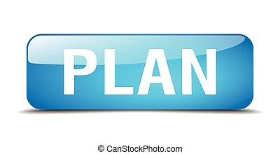 plan blue square 3d realistic isolated web button