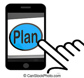 plan, botón, exhibiciones, objetivos, planificación, y, organizador