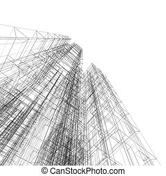 plan, bouwschets, abstract