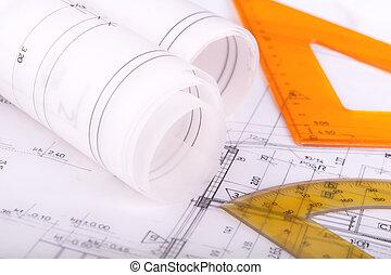 plan, bouwschets, architect, tekening